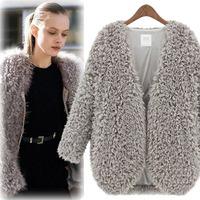Autumn Winter Women Solid Gray Black Beige Faux Fur Jacket European Brief Street Thick Outerwear Long Sleeves Short Cardigan