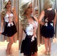 2014 European and American new transparent black lace mesh stitching Slim white dress EL-1022-02