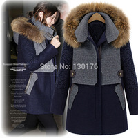 Cloak Europe And The United States Women's 2014 New Winter Raccoon Fur Collar Wool Coat Woolen Coat Thickened Long Windbreaker
