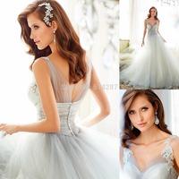 2015 Vestido De Noiva V Neck Tank Lace Appliques Long A Line Tulle Wedding Dresses Brides Dress For Weddings