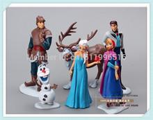 2014 New Hot,6pcs / set Frozen Anna Elsa Hans Kristoff Sven Olaf PVC Action Figures Toys Classic Toys, Christmas gift!(China (Mainland))