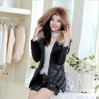 2014 New Korean Version Slim Women Winter Coat Warm Down Cotton Jacket Women Black TY032 Free Shipping