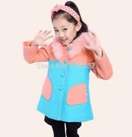 1 pcs Retail 2014 New Girls Winter Coat Fashion Wool Fur Collar Girls Jacket Warm Kids Outerwear 1315