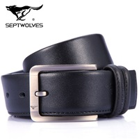 For SEPTWOLVES strap male genuine leather casual cowhide wide belt male fashion pin buckle belt pure