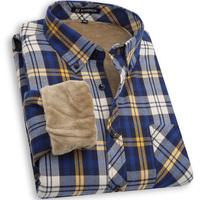 2014new mens  winter  thermal shirt plus velvet thickening long-sleeve shirt male plaid shirt  Y0520