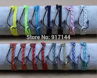 30PCS New Unique 15 Colors Silver Nautical Hook Triple Wrap Rope Adjustable Bracelets & Bangles Jewelry For Men Women