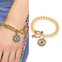 [Mix 15USD] Women's fashion Jewelry charm hamsa hand Lucky Evil Eye Charm Full crystal OT clasp Gold Chain Bracelet