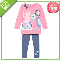 Retail 2014 Hot! peppa pig costume set Kids clothes sets girl clothes Christmas pajamas cotton children's clothing free shipping