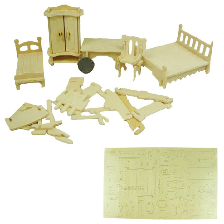 Hot sale Novelty DIY Mini Furniture Kids Educational Dollhouse Toy 3D Woodcraft Puzzle Building Model Kit Toy TH57(China (Mainland))