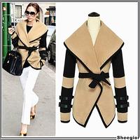 2014 Fashion Ladies Big Lapel Belted Slim Jacket Coat Victoria Style Autumn Winter women Outerwear Tops Wool Jacket Plus Size