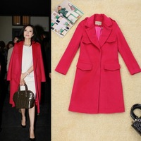 Hot Selling 2014 New Designer Women Winter Wool Trench Coat European Brand Lady Overcoat Abrigos Mujer Red/Brown Free Ship W1109