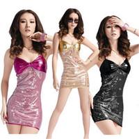 Women Halloween Nightclub Sequined Bow Dress Clothes Ds Lead Dance Clothing Sauna Technician Miss KTV Princess Uniforms