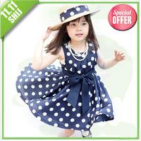 Retail 2014 hot polka dot ribbon dress big promotion girls clothing fashion girls dress Free Shipping!