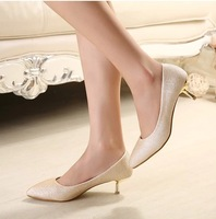 Autumn pointed toe wedding shoes gold female heels pointed toe thin high heeled shoes bridesmaid single shoes female party shoes