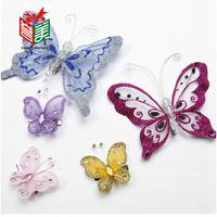 Christmas Decoration Acrylic Material Butterfly Clip Bow Pendant Christmas Tree Decoration Ornaments 10CM 3PCS + 5CM 6PCS