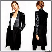 2014 Winter Fashion Overcoat Brand Elegant Sale Black Contrast PU Leather Pockets Woolen Patchwork Female Streetwear Long Coat
