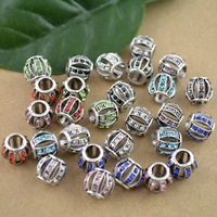 DIY 10*9mm Mixed Color Rhinestone Crystal Hollow European Bead Fit Charms Bracelet 100Pcs/lot