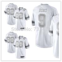 82 Jason Witten 9 Tony Romo Dez Bryant Jersey 2014 Men's Stitched American football logo and 88 Dez Bryant White Platinum jersey