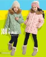 1 pcs Retail 2014 New Girls Winter Coat Girls Jacket Hooded Fur Collar Kids Long Coat Outerwear Windproof  Warm 1316