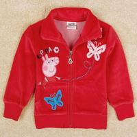 Nova Peppa pig baby wear girls coat New lovely embroidery butterfly outwear for baby girl F5199Y