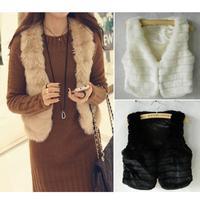Furry Stripe Round Neck Faux Rabbit Fur Vest Warm Jacket Top Coat # 65247