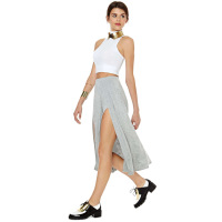 knitted elastic self-cultivation gray maxi skirts