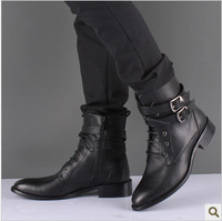 2014 Korean version of the new winter fashion trend for men Martin boots men's casual boots generation decorative buckle