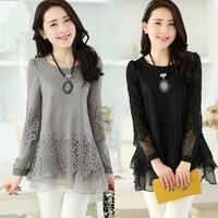E-Unique New 2014 Autumn Women'S Chiffon Shirt Top Basic Medium-Long Long-Sleeve Shirt Slim Patchwork Lace Dress WWB21