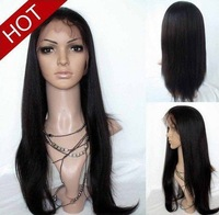 "Discount!!Affordable! Yaki Straight 100% Indian Remy Human Hair Full Lace Wig select 8""-24"" Wholesale High Quality 1b off black"