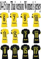 women Soccer Jersey 2015 Borussia Dortmund BVB 14/15 Home Yellow Away Black REUS SAHIN KAGAWA MKHITARYAN lady Shirt cheap jersey