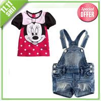 2014 new fashion minnie clothing set kids clothes girls clothes girls clothes set in summer 3~11age free shipping