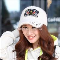 1 pcs 2014 New Women Winter Baseball Cap Fashion Rivet Rabbit Fur Hat 9 Colors Free shipping