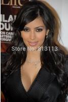 Discount!!Human Hair Wigs Kim Kardashian Long #1b Wavy 100% Indian Remy Human Hair Lace Front wig with bang