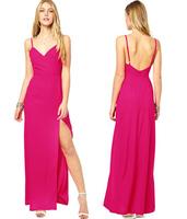 fashion plus size spaghetti strap slim placketing sexy women evening dresses model long dress a01007 rose color