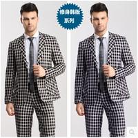 2014 New 100% High quality Fashion slim Grid suits Men ( Jacket + pants ) groom wedding dress men's suit