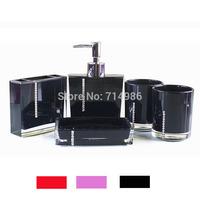 Free Shipping Luxury Acrylic Square Crystal Diamond Bathroom Sets 5pcs for family Bath Accessories Kit