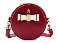 New Arrival Women Bags Brand Design Round Mini Packet Retro Bolsas Vintage Messenger Bags Ladies Leather Shoulder Bags Bow Decor