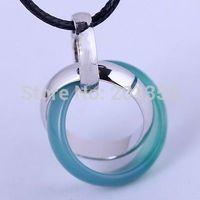 Blue Jade Silver Blue Jade Three jewelry Pendant Hemp Necklace Gift