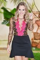 2014 autumn new leopard lace long-sleeve tight o-neck collar chiffon blouses EL-1022-03