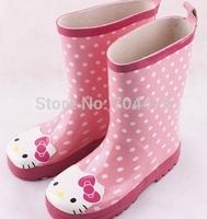 2014 Kids Rain Shoes Girls Hello Kitty Waterproof Boots For Kid Girl Rubber Boot Children Grils Rainboots botas de lluvia