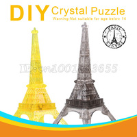 Free shipping dimensional crystal puzzle plastic building blocks assembled toy gift. led music Ai Eiffel Tower in Paris