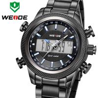 Drop Shipping ! High Quality WEIDE Luxury Brand Male Quartz Clock LCD Display Waterproof Full Steel Watch Relogio Masculino