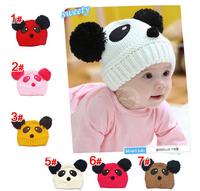 2015 Fashion Cute Baby Kids Girls Boys Winter hat Cartoon Stretchy Warm Loverly Panda Cap Hat Beanie Toddler child Knitting Cap