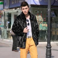 Mink hair fox fur overcoat trench outerwear overcoat male popular fur coat