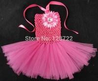 Free shipping New Fashion Kids TUTU dress Pure Handmade girls Performance dress with big flower baby girl tutu dresses 5pcs/lot