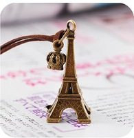 F09131/2 1piece Retro Alloy Eiffel Tower Crown Drop Pendant PU Chain Coat Sweater Necklace Best Jewelry Gift for Women freeship