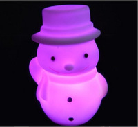 5pcs/lot Christmas Gift Chrisimas necessary 7 colour snowman a night light Colorful gift Environmental protection material