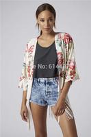 New Women Cardigan Fashion Three Quarter Sleeve Open Stitch Fringed Kimono Red Floral Print Kimono Tassel Jacket Tops cx657239