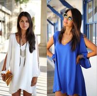 2014 autumn new mini v-neck chiffon dress women's fashion loose A-
