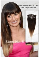 Discount!!Oxette ombre hair extensions with clips 3 Tone #2/#4/613 Ombre Clip in Hair Extensions 5A Peruvian Virgin Human Hair S